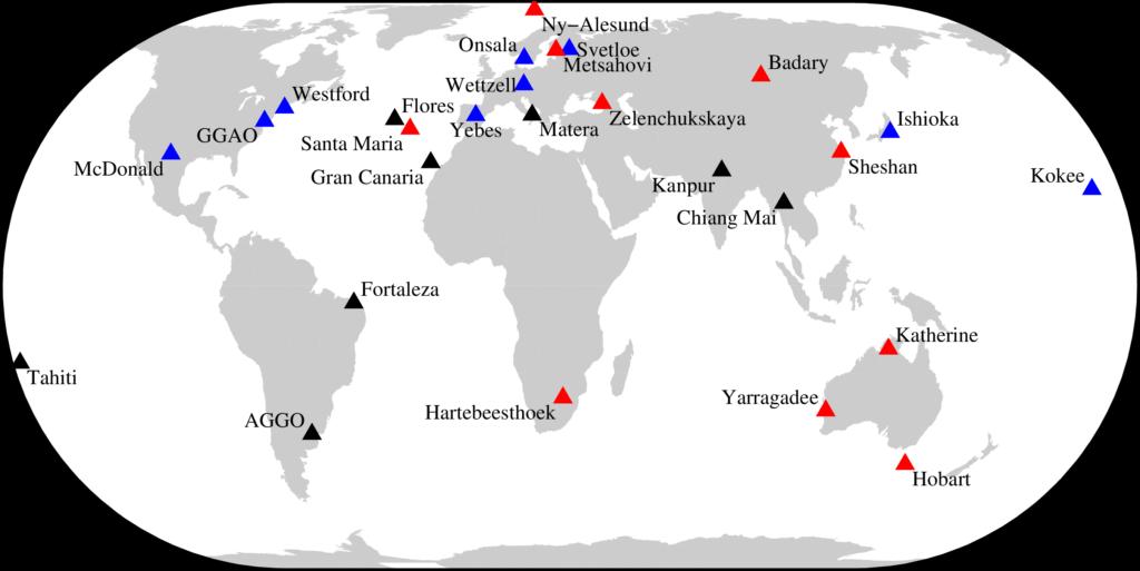 VLBI VGOS stations map