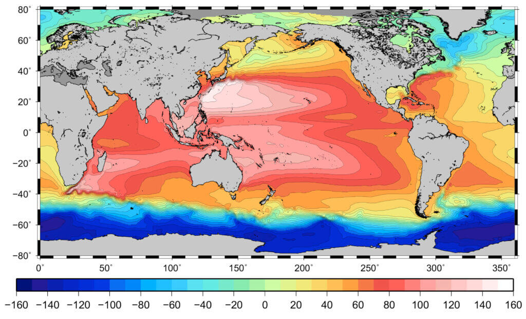 Topography of the mean sea surface